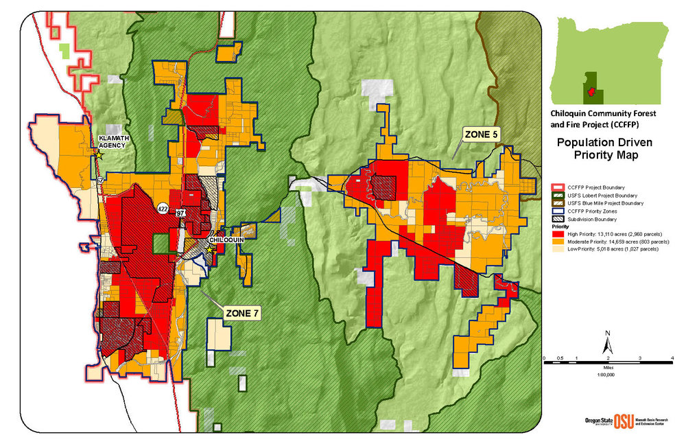 Priority map for forest restoration based on vegetation mapping and wildfire risk to residents and community resources (click to enlarge).