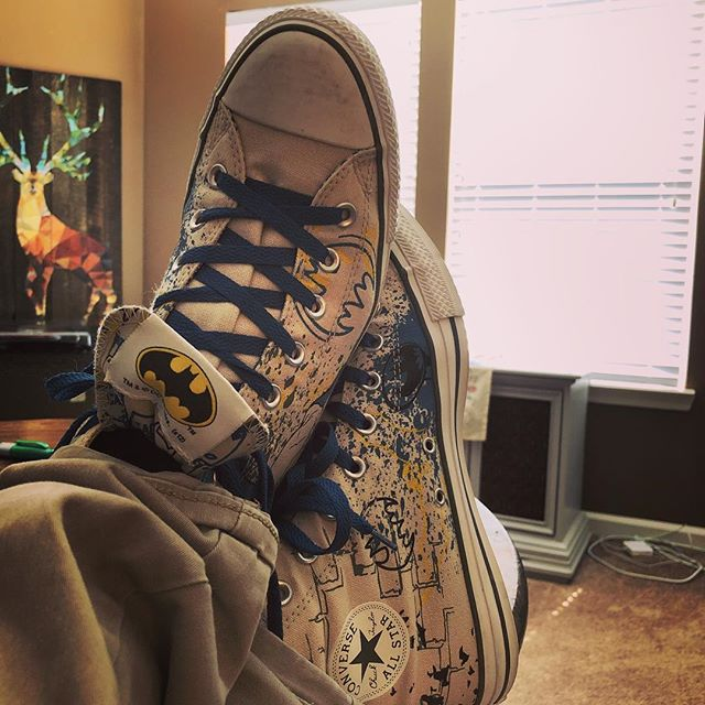 Yep, feeling pretty invincible wearing these badboys. Villains, consider yourself warned. #batmanconverse #chucktaylor #converse #songwriter  #batman