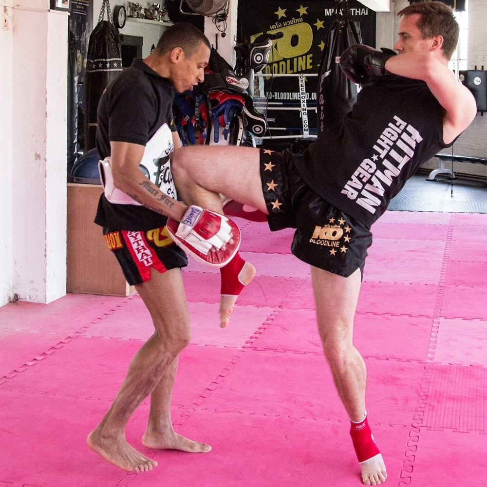 Greg Chivers training in kickboxing and Muay Thai with Personal Combat Training Bristol