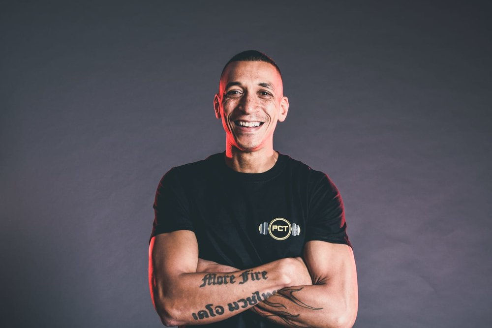 Personal Combat Training founder Paul Skybwoy Studholme. Paul is a highly experienced Muay Thai and kickboxing instructor, with a wealth of professional experience.