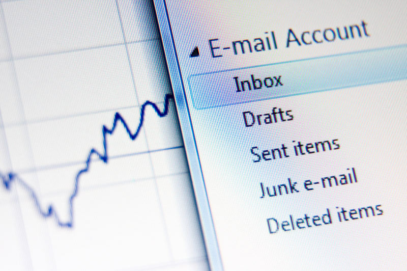 Closeup of a computer screen, showing an email application.