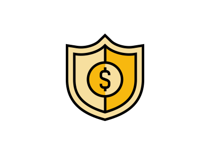 A golden shield, with a dollar sign in the center.