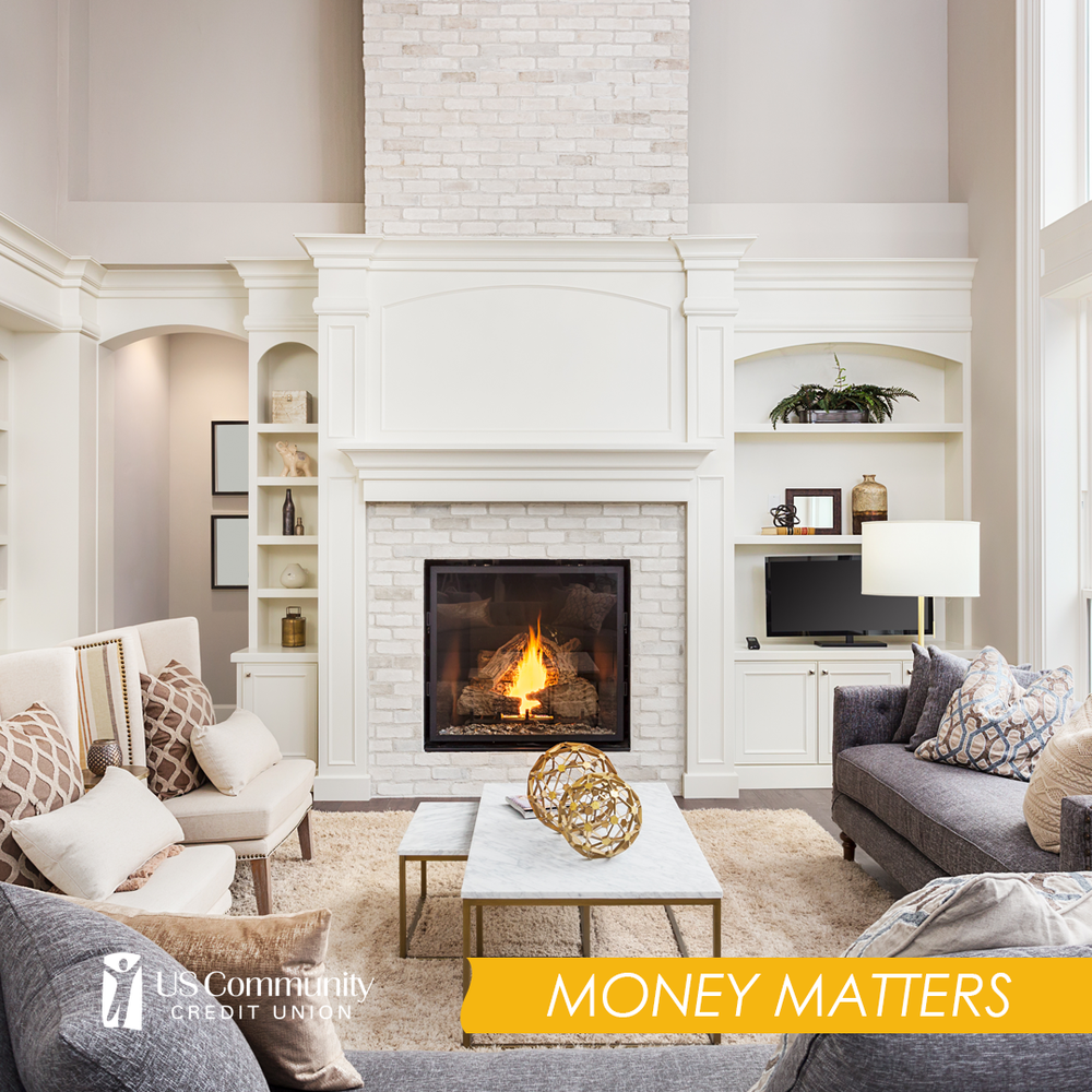 A large living room with a fireplace