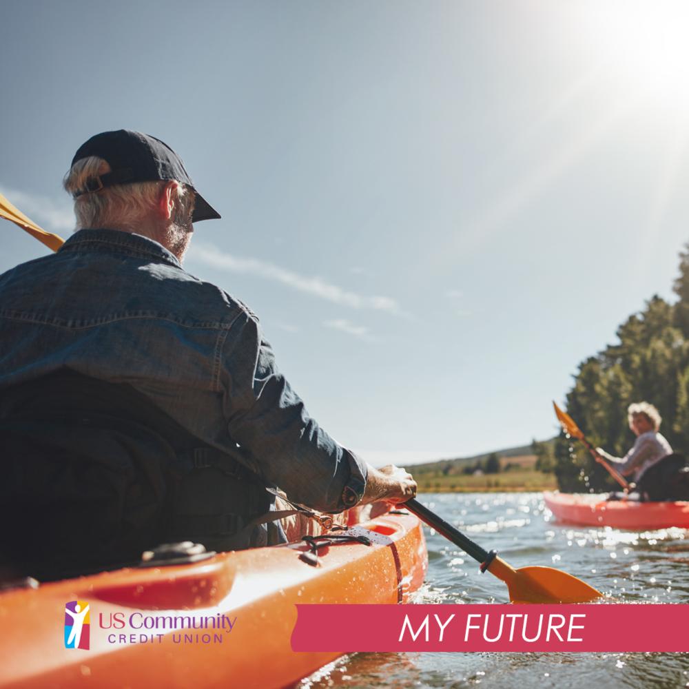 A older man kayaking on the lake