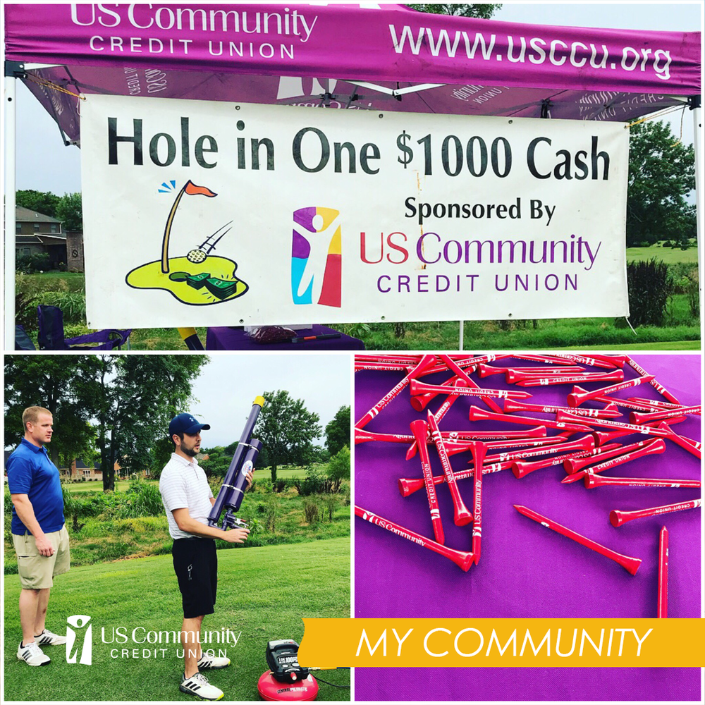 Photo collage of US Community Credit Union setup at Tennessee Lineman Rodeo Golf Tournament in Murfreesboro TN. The Hole in One sponsorship sign, a player holding the golf ball air cannon, and red USCCU golf tees spread out on a table.