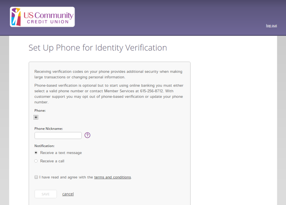 Online Banking screen showing how to set up your phone for identity verification