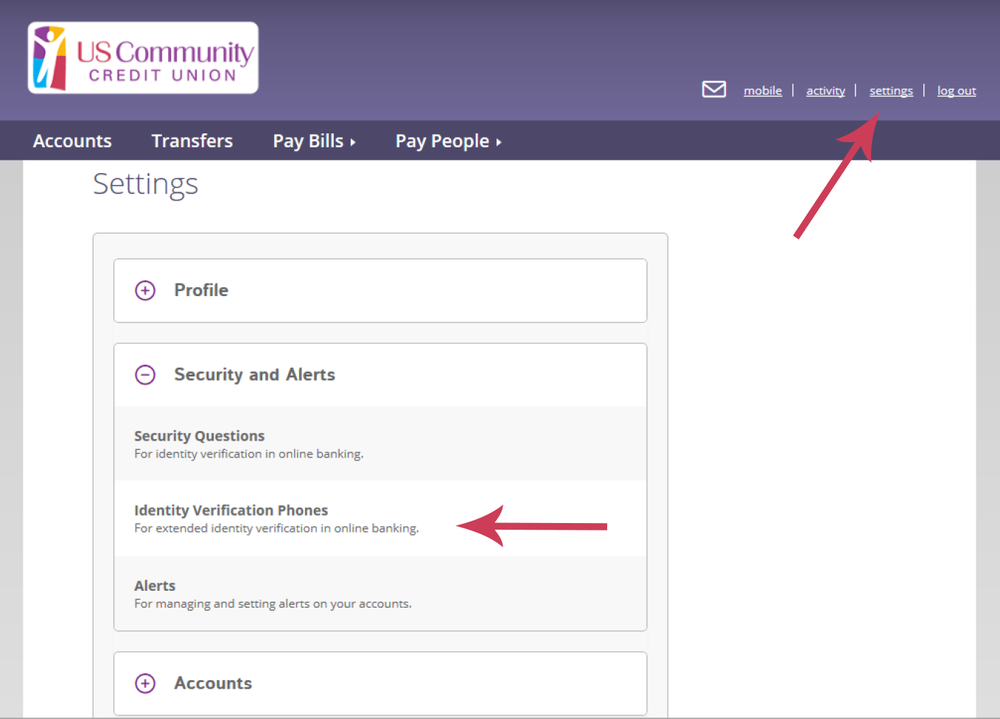 Online Banking Screen showing the settings page