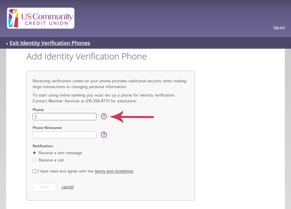Online Banking Screen showing how to add a phone number for identity verification