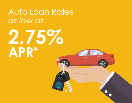 Animated hand holding red car and keys, and words reading, auto loans as low as 2.75% APR*