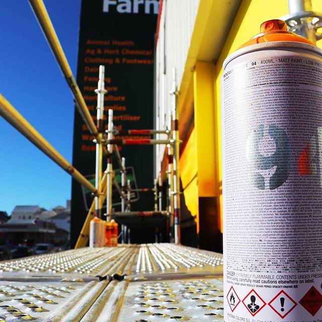 Tools of the trade #farmlands #mrg #heartofthecommunitynz #gisborne #artistsoninstagram #contemporaryart #instaartist #urbanart #streetart #instaart #nzart #newzealand #streetarteverywhere #streetartistry #nzartist #mural #wallpainting #artsy #urbanwalls #instagood