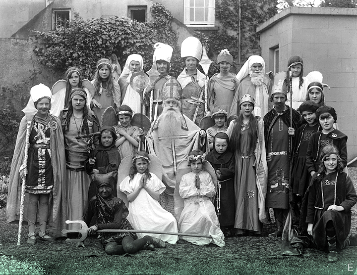 June 1, 1932 // Children at St. John of God Girls' National School in Waterford, dressed up for a play - something around the topic of St. Patrick, perhaps - certainly that saint has pride of place in this tableau! Though a little unseasonal given the summertime date.