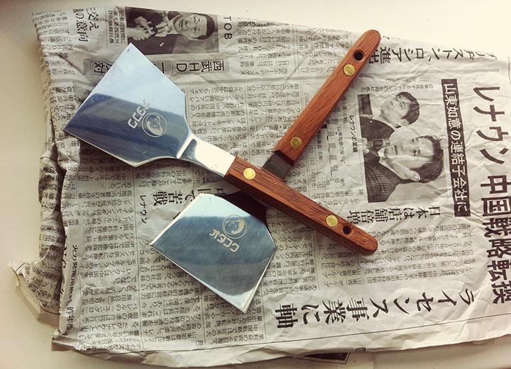 Mrs. Hayashi's gift: a pair of okonomiyaki spatulas