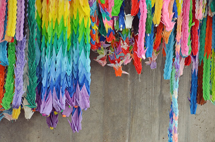 Thousands of paper cranes, send from all over the world as a symbol of peace