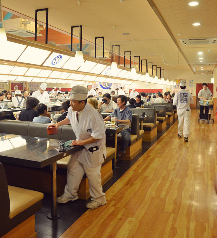 Warehouse-sized sushi train restaurant, surprisingly delicious (and cheap!)