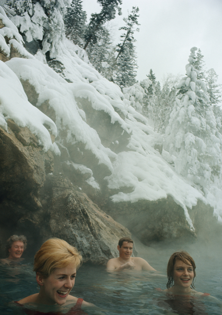 Thermal springs warm winter bathers in British Columbia, 1966