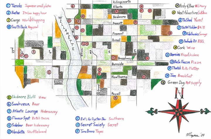 """I made this map so my friends know where to visit when they come see me in NE Portland. All of the above are my favorite local businesses in the area."" -Christopher"