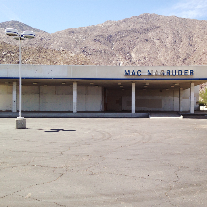 Abandoned car dealership in Palm Springs