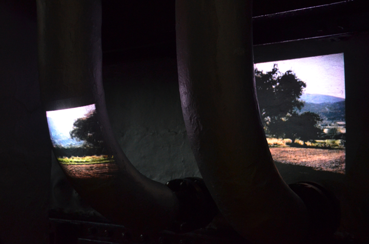 Artful projections on industrial pipes