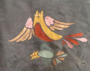 SUSAN EVARTS DESIGNS   Hand-dyed, stenciled adult clothing and hand-painted small benches with original whimsical designs.  PO Box 1175 PAWCATUCK, CT 06379
