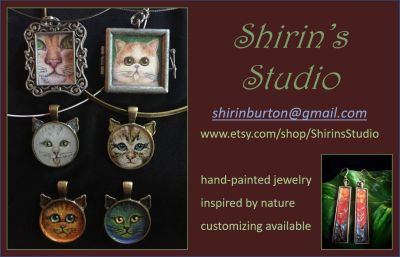 Shirin Burton Hand painted jewelry https://www.etsy.com/shop/ShirinsStudio shirinburton@gmail.com