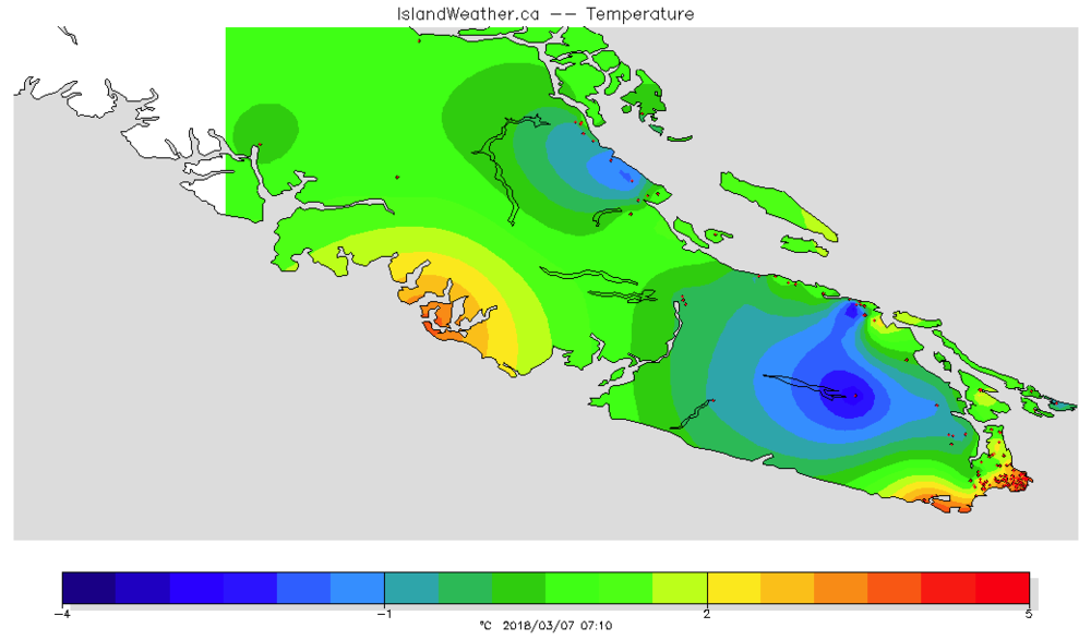 A temperature map of the region from different stations in the Vancouver Island School-Based Weather Station Network for early morning on a date in early March. Image generated by VISBWSN website .