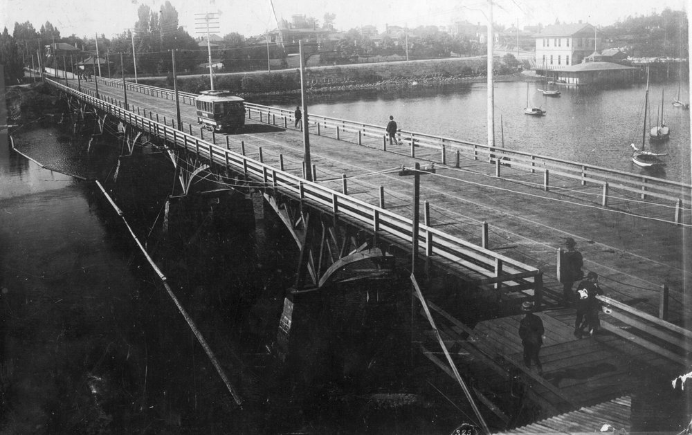 Above the bridge between James Bay and Victoria prior to the building of the Empress looking toward the future site of the legislature in James Bay.Photo A-00377 courtesy of the Royal BC Museum and Archives.
