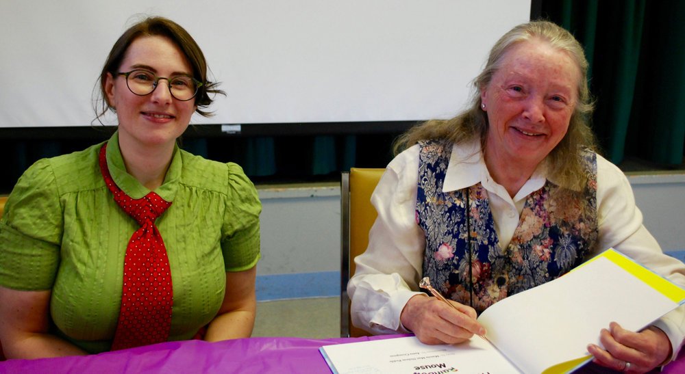 Illustrator Astra Crompton (left) and author Marcia Mae Nelson Pedde (right) at the book launch held at James Bay New Horizons for The Adventures of Rainbow Mouse. Photo by Robert Hawkes.