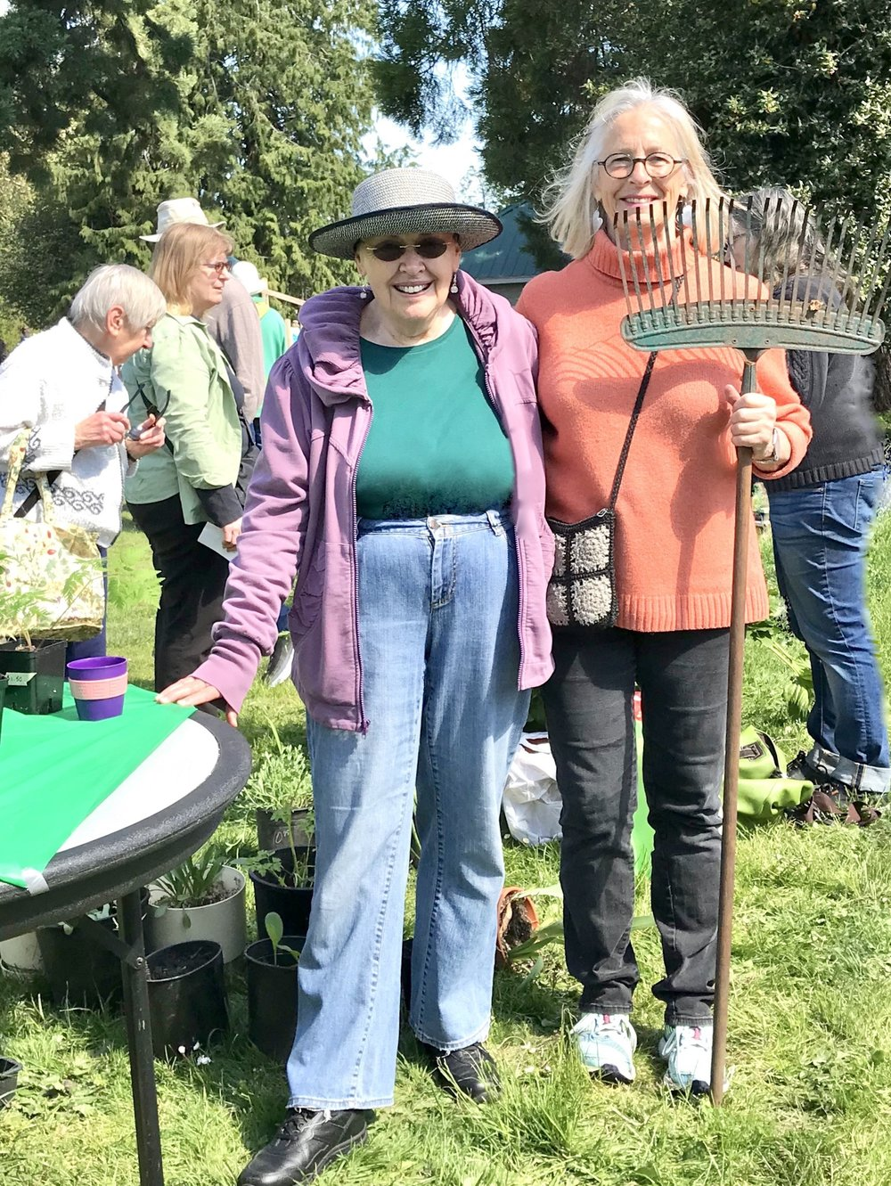 Sunny weather at Irving Park made a successful day at the James Bay Neighbourhood Association Garden Committee's Annual Spring Plant Swap & Sale. Garden Committee enthusiastic volunteers Dorothy Rich and Pat McGuire    Photo by Marion Yas
