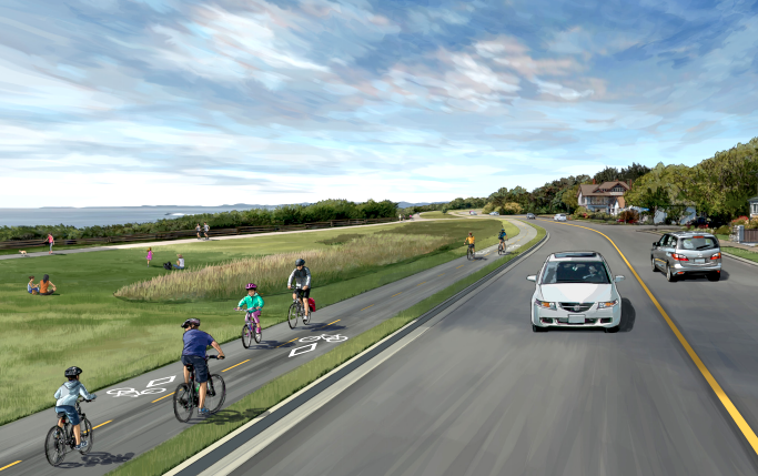 An engineering rendition of the proposed bicycle path along Dallas Rd. Image courtesy of CRD.