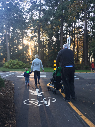 Residents using the new portion of the pathway. Image provided by city of Victoria.