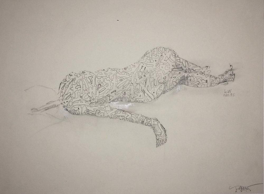 """""""Femme voilée"""" Crayon sur papier -21X29,5cm  Collaboration indirecte avec feu Louis Wilmaer & PAROLE - Commencé en 1981 finalisé en 2017  """"Veiled Women"""" pencil on paper"""
