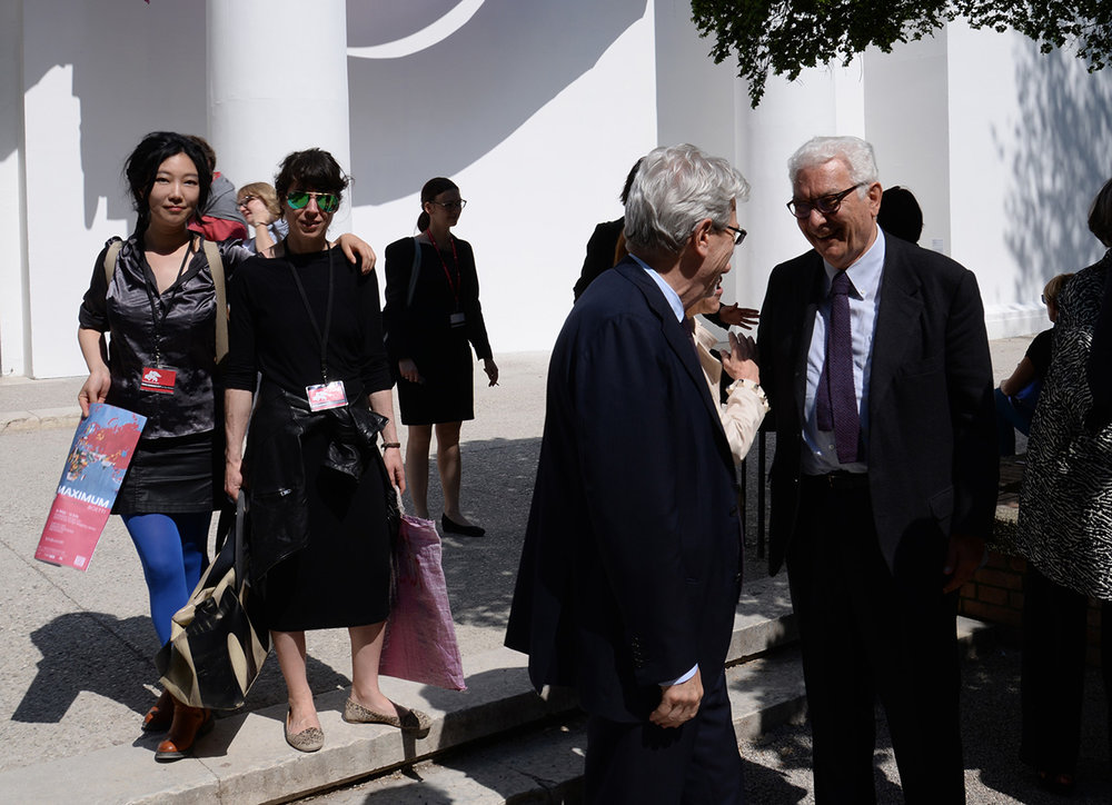 Tan Tan, Sophie Saporosi and Paolo Baratta, President of Venice Biennale