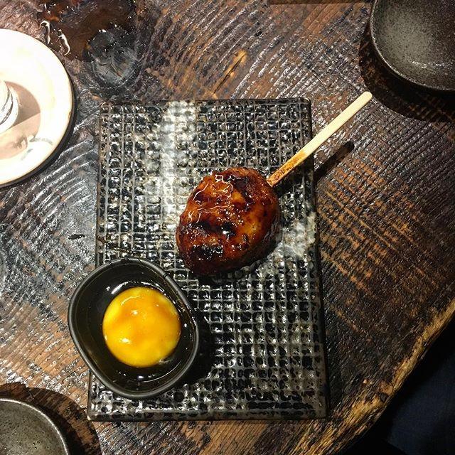 The perfect little chicken meat ball with a yolk for sauce. #yakatori #izakaya #taipeifood #taipei #japanesefood #chicken