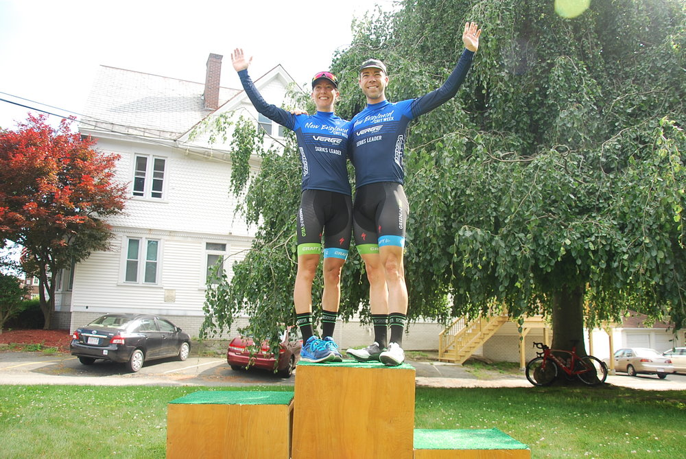 Regina Legge and Cole Archambault, leaders of Verge Sport New England Crit week after the Greenfield Crit.  Darcey Moore Photo