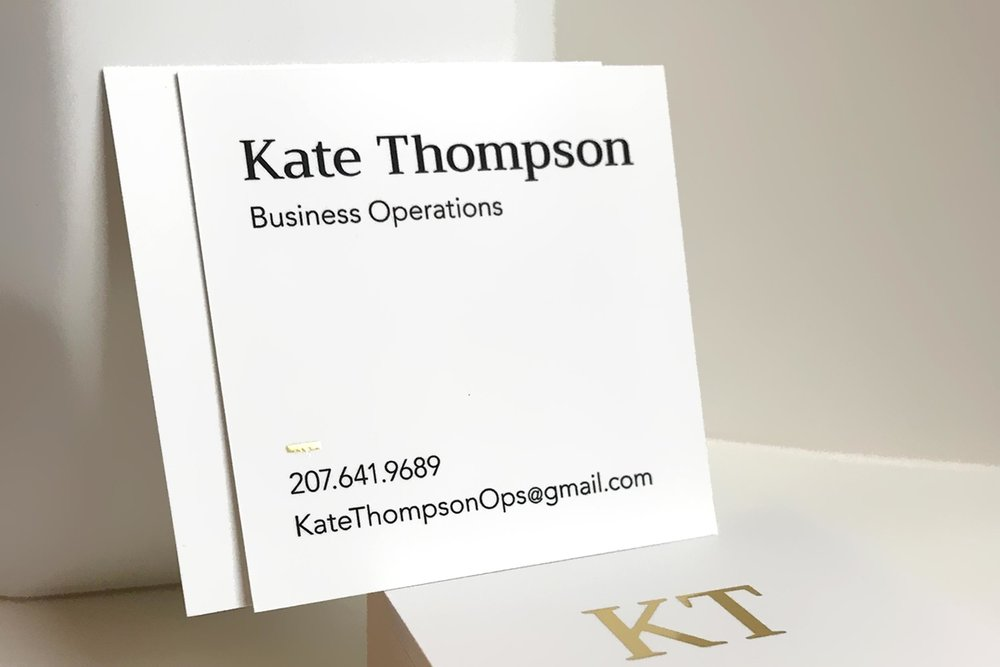 Business card design with gold foil detail