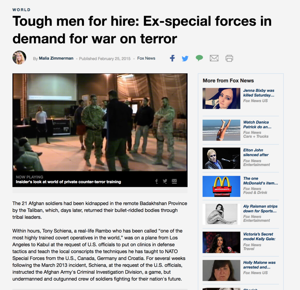 FOX NEWS - Tough men for hire. Ex special forces in demand for war on terror