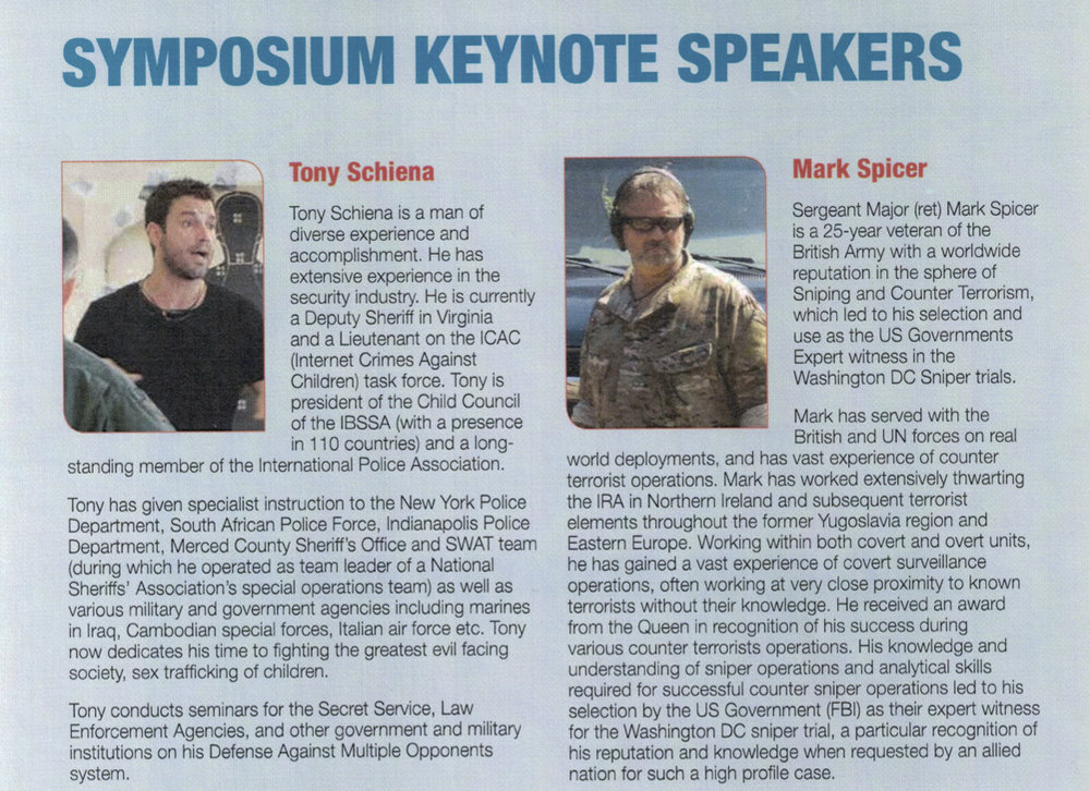 TONY SCHIENA To Speak at the National Sheriff's Conference in Texas