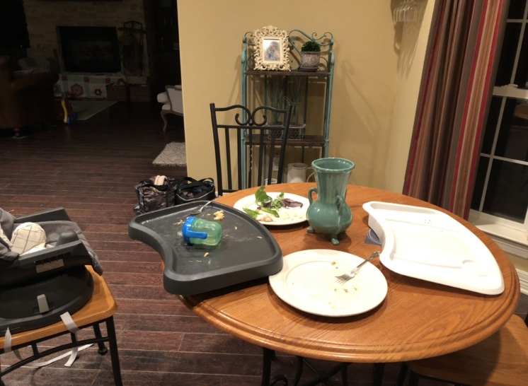 This is a picture of our  real  kitchen table after frozen pizza on Friday night. We didn't bother cleaning up because my husband had started a fire outside and we were excited to sit out by it after dinner!