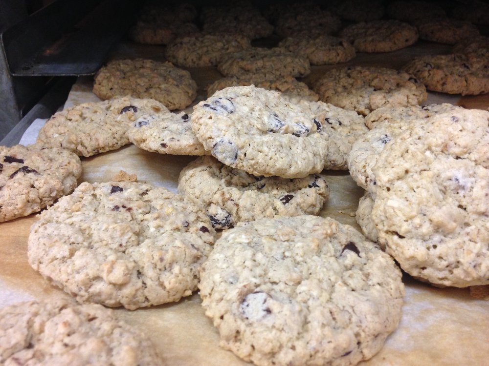 We Make It    You Bake It  - Cookies: Ginger, Oat, Chocolate Chip, Vanilla ShortbreadCroissantGluten Free Bread & BunsPie Crust: speltPizza Crust: spelt or wheat - dough rounds or flatsSavoury RollsVeggie Burger   and more