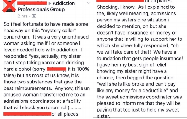 The above picture depicts a legitimate Facebook post from an addiction treatment profesional.