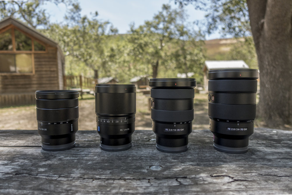 Lined up 16-35mm f4, 35mm f1.4,  16-35mm f2.8 , 24-70mm f2.8 - courtesy of  @AroundQ