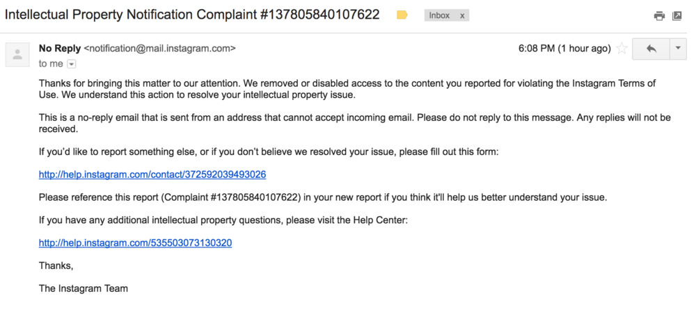 The confirmation email for removal.