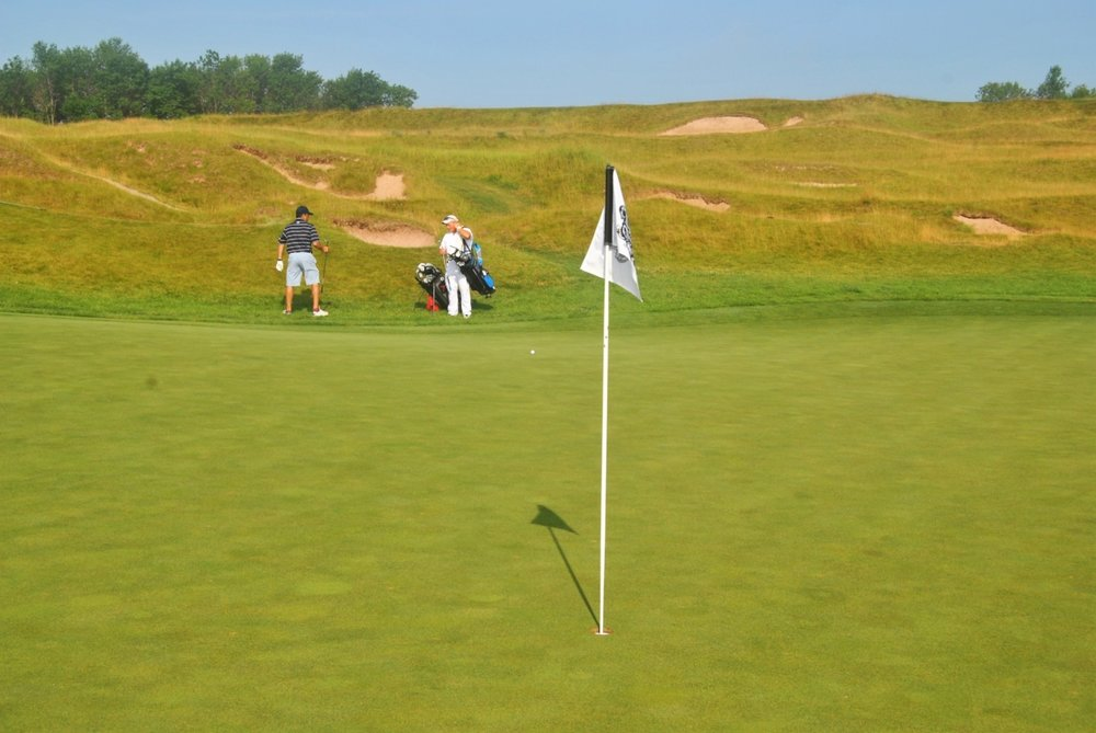 My tee shot on the third hole stopped 30 feet to the right of the flag, setting up a birdie putt.