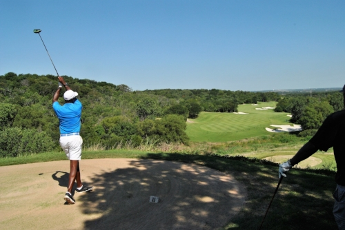Teeing off on the 10th hole