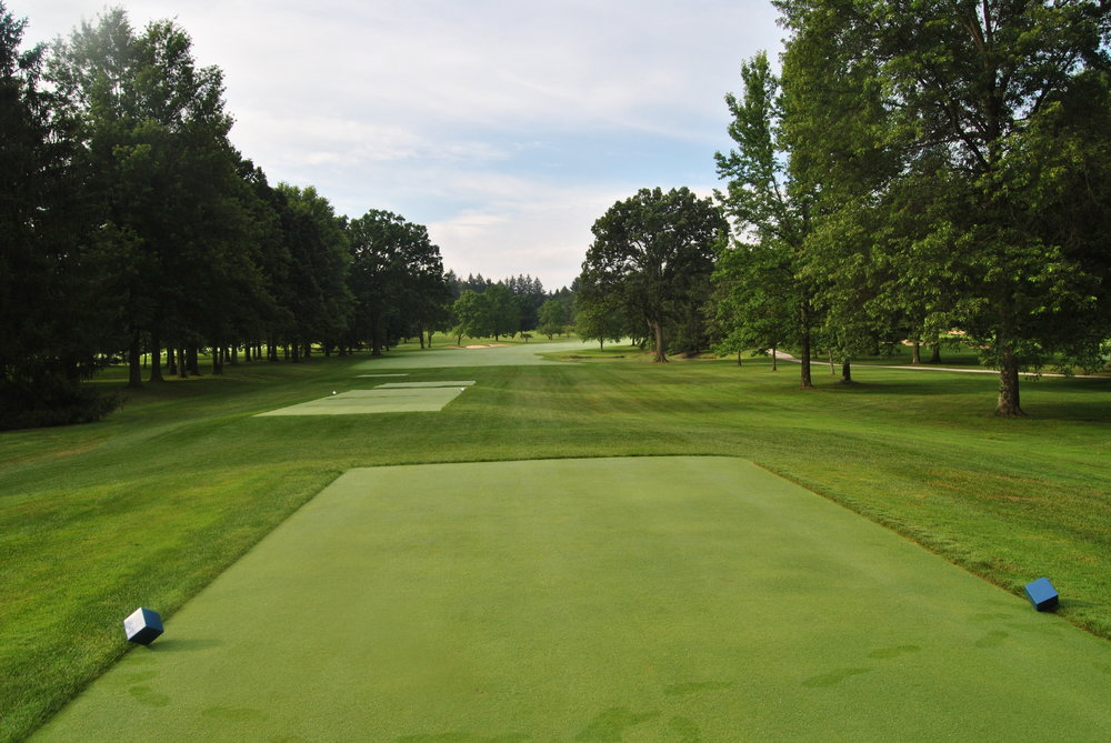 The 16th hole is typical of the narrow tree line fairways a Laurel Valley.