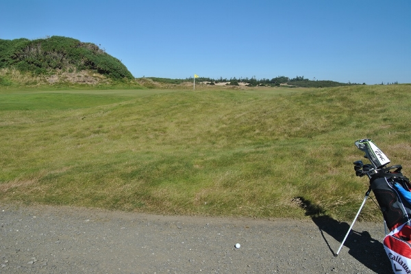 My approach shot on the 12th hole missed left.
