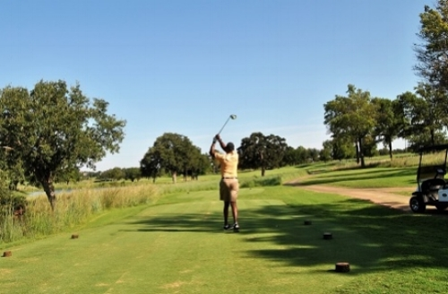 Tee shot on the fifth hole.