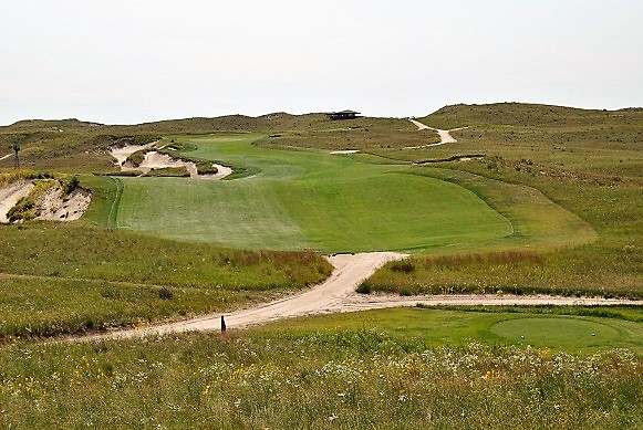 The finishing hole at Sand Hills Golf Club.