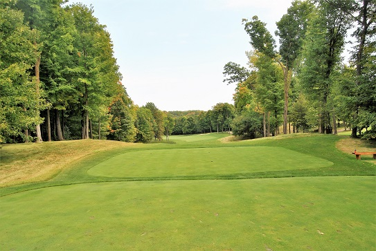 The ninth hole from the tee box.