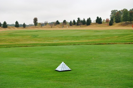 A course of my own. The one pyramid of balls on the driving range for the one golfer who would tee it up today - me!